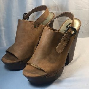 Guess Brown Open Toed High Heel Wedge Clogs